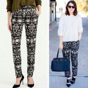 J. CREW Blurred Ikat Print Elastic Joggers Pants 0